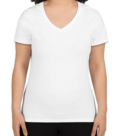 Hanes Ladies X-Temp V-Neck T-shirt - White