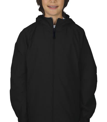 Sport-Tek Youth Full Zip Hooded Jacket - Black