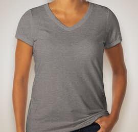 District Made Ladies Tri-Blend V-Neck T-shirt - Color: Grey Frost