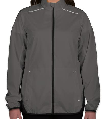 Port Authority Ladies Reflective Running Full Zip Jacket - Grey Steel / Deep Black