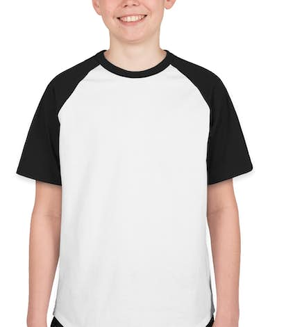 Sport-Tek Youth Short Sleeve Baseball Raglan - White / Black