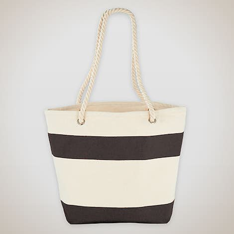 Medium Nautical Stripe 100% Cotton Tote - Black