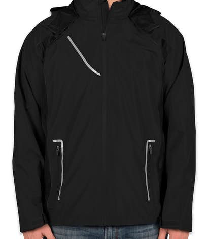 Team 365 Waterproof Hooded Jacket - Black / Black