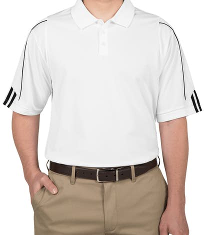 Adidas ClimaLite Three Stripe Performance Polo - White / Black