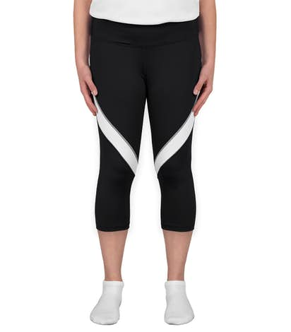 Augusta Ladies Action Colorblock Performance Capri Pant - Black / White