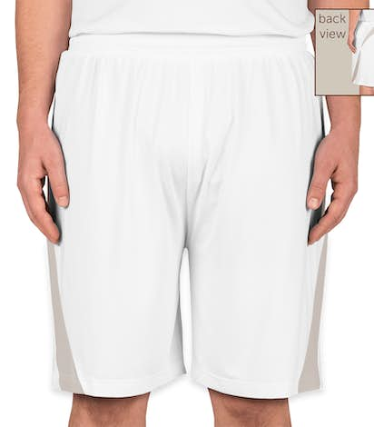 Team 365 Colorblock Performance Shorts - White / Sport Silver