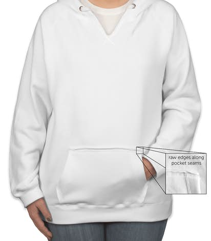 J. America Ladies V-Neck Pullover Hoodie - White