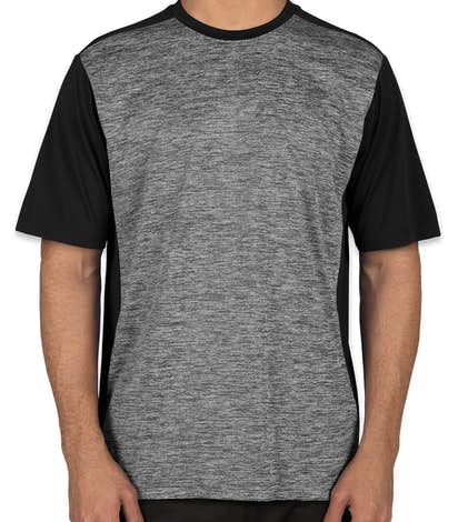 Sport-Tek Posicharge® Electric Heather Colorblock Performance Shirt - Black Electric / Black