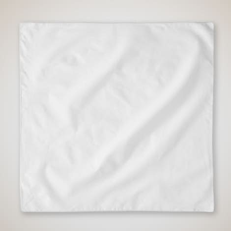100% Solid Cotton Bandana (Centered Design) - White