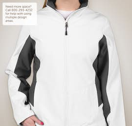 Port Authority Ladies Colorblock Soft Shell Jacket - Color: Marshmallow / Battleship Grey