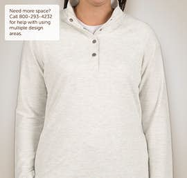 Charles River Ladies Snap Button Pullover With Pockets - Color: Ivory Heather