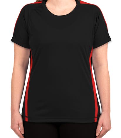 Sport-Tek Ladies Competitor Colorblock Performance Shirt - Black / True Red