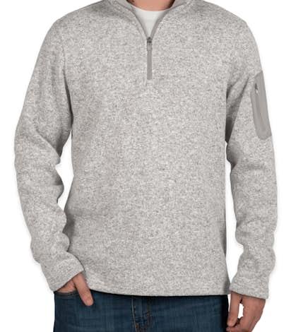 Charles River Quarter Zip Sweater Fleece Pullover - Light Grey Heather