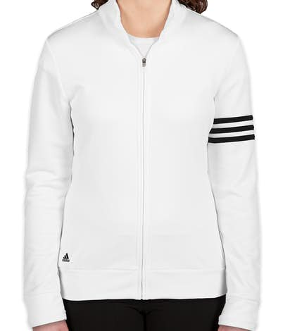Adidas Ladies ClimaLite Full Zip Performance Sweatshirt - White / Black