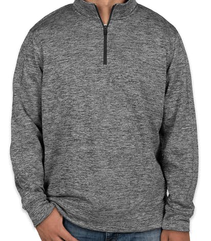 Sport-Tek Electric Heather Performance Quarter Zip Pullover - Black Electric