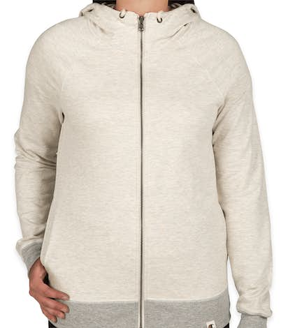 Champion Authentic Ladies French Terry Zip Hoodie - Oatmeal Heather / Oxford Grey