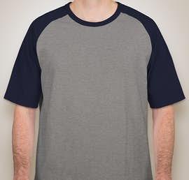 Sport-Tek Short Sleeve Baseball Raglan - Color: Heather Grey / Navy