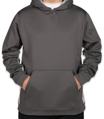 Sport-Tek CamoHex Colorblock Performance Pullover Hoodie - Dark Smoke Grey / White