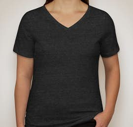 Bella + Canvas Ladies Tri-Blend V-Neck T-shirt - Color: Charcoal Black Triblend