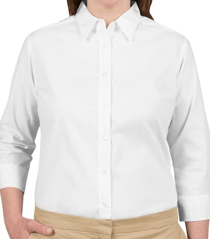 Port Authority Ladies 3/4 Sleeve Easy Care Twill Shirt - White