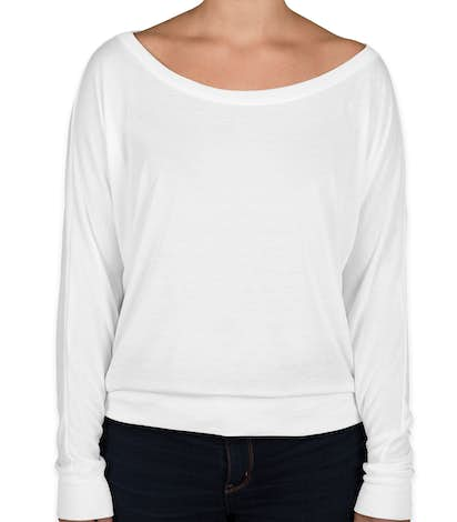 Bella + Canvas Ladies Flowy Long Sleeve Off Shoulder T-shirt - White