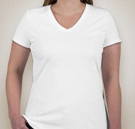 Fruit of the Loom Ladies 100% Cotton V-Neck T-shirt - Color: White
