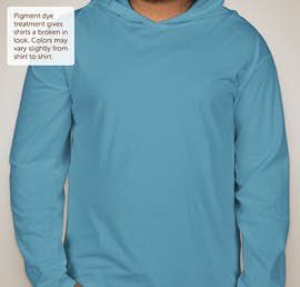 Comfort Colors Hooded Long Sleeve T-shirt - Color: Royal Caribe