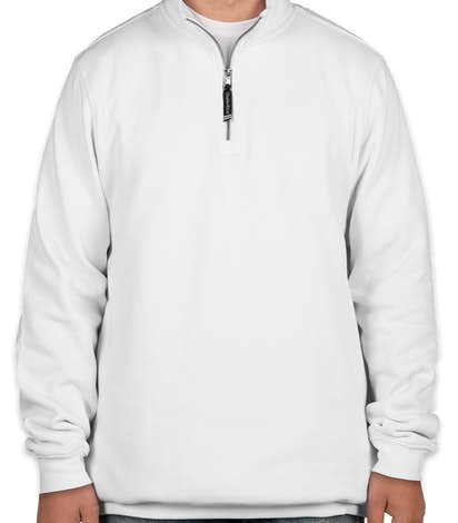 Charles River Pocket Quarter Zip Sweatshirt - Embroidered - White