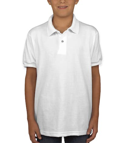 Hanes Youth 50/50 Jersey Polo - White