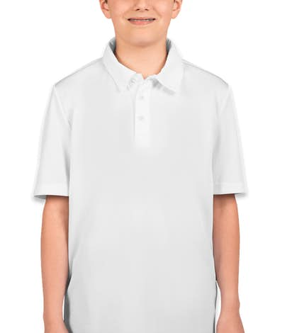 Port Authority Youth Silk Touch Performance Polo - White