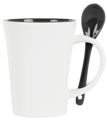 10 oz. Ceramic Mug with Spoon - White / Black