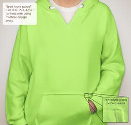 J. America Ladies Neon V-Neck Pullover Hoodie - Color: Neon Green