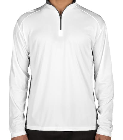 Badger Contrast Quarter Zip Performance Shirt - White / Graphite