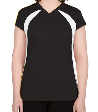 Badger Ladies Colorblock Volleyball Jersey - Black / White