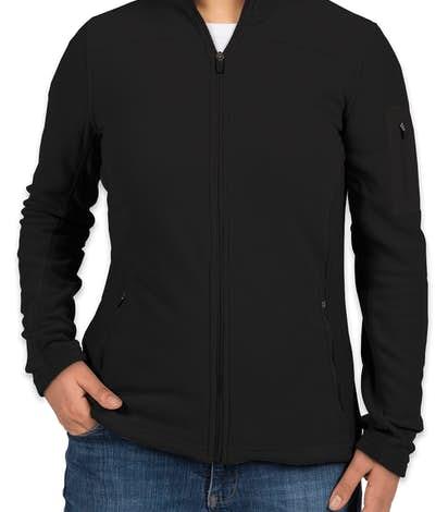 Port Authority Ladies Colorblock Full Zip Microfleece Jacket - Black / Black