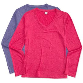 Sport-Tek Ladies Long Sleeve Heather V-Neck Performance Shirt