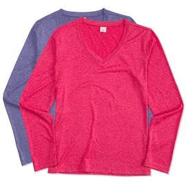 Sport-Tek Ladies Long Sleeve Heather V-Neck Performance Shirt