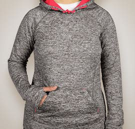 J. America Ladies Cosmic Performance Pullover Hoodie - Color: Charcoal Fleck / Fire Coral