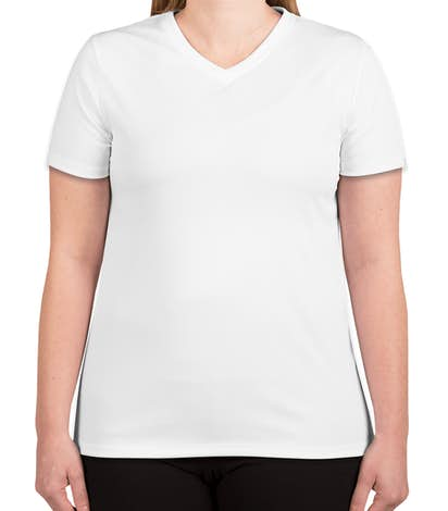 Hanes Ladies Cool Dri V-Neck Performance Shirt - White