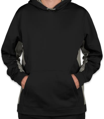 Sport-Tek Colorblock Performance Pullover Hoodie - Black / Dark Smoke Grey