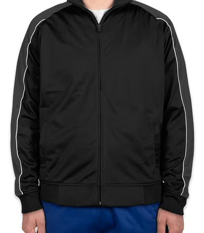 Sport-Tek Piped Tricot Warm-Up Jacket - Black / Iron Grey / White