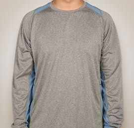 Sport-Tek Long Sleeve Heather Colorblock Performance Shirt - Color: Vintage Heather / Carolina Blue
