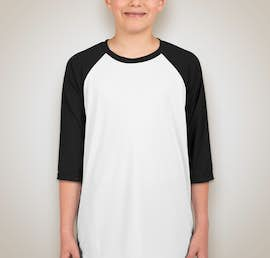 Canada - All Sport Youth Performance Baseball Raglan - Color: White / Black