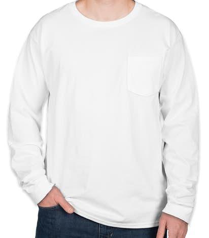 Hanes ComfortSoft® Tagless Long Sleeve Pocket T-shirt - White