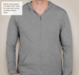 Anvil Tri-Blend Full Zip T-shirt Hoodie - Color: Heather Grey