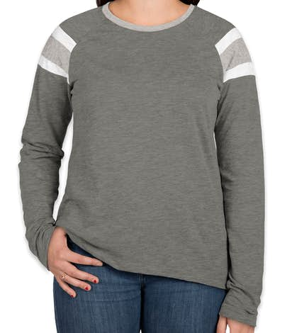Augusta Ladies Fanatic Long Sleeve T-shirt - Slate / Athletic Heather / White