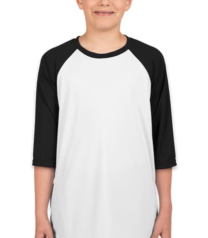 All Sport Youth Performance Baseball Raglan - White / Black
