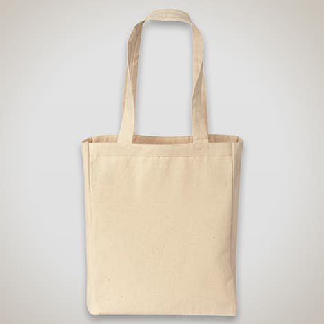 Medium Gusseted Midweight 100% Cotton Canvas Tote - Natural