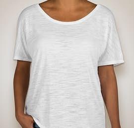 Bella Ladies Flowy Slub T-shirt - Color: White Slub
