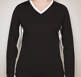 Badger Ladies Colorblock Long Sleeve Volleyball Jersey - Color: Black / White